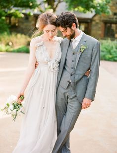 OBSESSED with this gorgeous gray wedding dress!