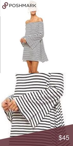 Striped Bell Sleeve Dress Casual off the Shoulder dress has beautiful bell sleeve detail and Swing fit! Dress is white with black stripes! Rayon 95% and Spandex 5% Garment Care: Hand Wash Cold Sizes: Small Medium Large Dresses Mini
