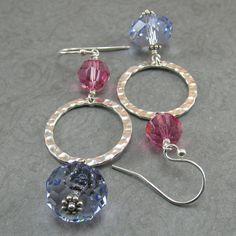 Rose Pink Purple Lavender Crystal Hammered by beadedembellishments, $18.00