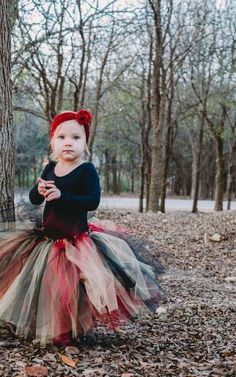 Kids Halloween Gothic Black 2 Layers 13 inches Tutu With Bow Skirt Age 5-12