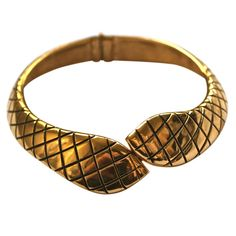 YVES SAINT LAURENT gilt snake collar | From a unique collection of vintage more necklaces at https://www.1stdibs.com/jewelry/necklaces/more-necklaces/