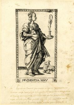 35 WL figure with a male face in profile to l, a female face in profile to r, holding a mirror; a winged monster on r; after the so-called Tarocchi Cards of Mantegna.  Engraving