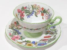 Hedgerow Shelley Tea Cup and Saucer, Shelley China, Tea Set, Gainsborough Shape 13492, Antique Tea Cups, English Teacup, Bridal Shower Gift by AprilsLuxuries on Etsy https://www.etsy.com/ca/listing/236436071/hedgerow-shelley-tea-cup-and-saucer