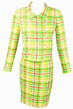 Chanel Green Plaid Boucle Skirt Suit For Sale Suits For Sale, Classic Skirts, Plaid Skirts, Vintage Jacket, 1990s, Vintage Outfits, Dresses For Work, Chanel, Fashion Outfits