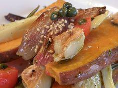 Geröstete Pastinaken und Süßkartoffeln mit Kapernvinaigrette