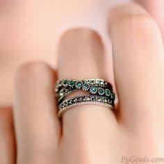 Vintage Double Row Green Crystal Rings only $14.99 in ByGoods.com!