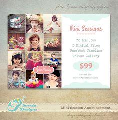 Mini Session Marketing Board Flyer Photoshop by SereiaDesigns, $8.00