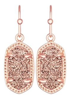 Kendra Scott Signature Dainty Lee Earrings in Rose Gold Drusy & Rose Gold Plated