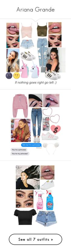 """Ariana Grande"" by mneasler ❤ liked on Polyvore featuring Topshop, Boohoo, adidas Originals, Forever 21, Levi's, adidas, Orelia, Hello Kitty, ASOS and Moschino"