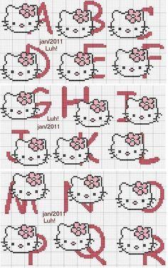 Bom dia meninas e meninos!   Hoje trouxe para vocês mais dois monogramas da Hello Kitty em Ponto Cruz, super fáceis de bordar.   Milllll ...