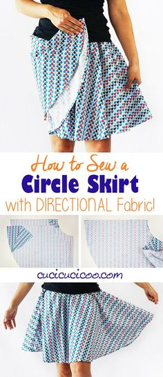Learn how to make a circle skirt with directional fabric for fun, twirly homemade skirts with straight designs. You can even use smaller cuts of fabric! Easy Sewing Projects, Sewing Projects For Beginners, Sewing Hacks, Sewing Tutorials, Sewing Tips, Sewing Ideas, Sewing Crafts, Homemade Skirts, Leftover Fabric