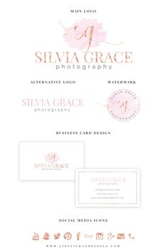 Premade Branding Package - Watercolor logo - Rose Gold foil logo-Predesigned Logo - Photography Logo - Logo design-Blog logo- Branding kit