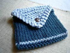 Knit Envelope Wallet - Sky Blue & Midnight Blue. $12.00, via Etsy.