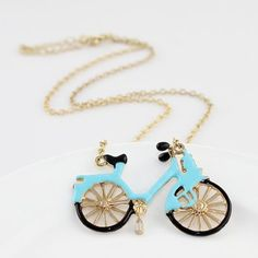 Fashionable Women Jewelry Vintage Style Gold Color Alloy Blue Enamel Bicycle Pendant Necklace for Women