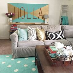 Ya know those times when a project is like 98% right, but that 2% bugs the crap outta you? The HOLLA sign struggle has been real. I aimed for mint at first, and fell short - but I'm much happier with this deeper shade over the baby blue. Ahhh.... the process of decorating... [tap once for sources]