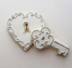 White Heart Padlock & Key Valentine Cookies