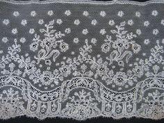 Antique Lace Fabulous Wide Piece of Handmade Very Fine Mechlin Lace Unused | eBay