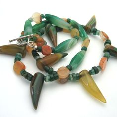 Tribal Agate, Honey Jade, Aventurine Silver Necklace