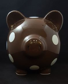 Piggy Bank Elegant Baby Chocolate Brown With Light Blue Polka Dots Pig  #ElegantBaby