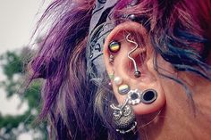 piercing, hair, and ear image Cool Ear Piercings, Multiple Ear Piercings, Unusual Piercings, Piercing Tattoo, Body Piercing, Owl Earrings, Stretched Ears, Peircings, Body Modifications