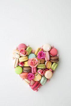Macaron and rose heart by Ruth Black for Stocksy United - Macarons Logo Patisserie, Laduree Paris, Macaron Cookies, French Macaroons, Purple Aesthetic, Heart Art, Food Art, Bunt, Heart Shapes