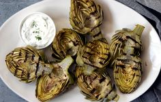 Grilled Artichokes with Yogurt-Dill Dipping Sauce - Bon Appétit
