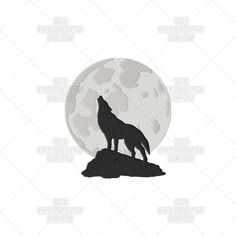 Wolf Howling at the Moon Lunar Nature Sky Animal Machine Embroidery Pattern Design