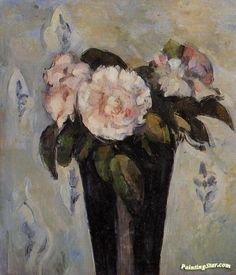 The Dark Blue Vase Artwork by Paul Cezanne Hand-painted and Art Prints on canvas for sale,you can custom the size and frame