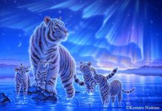 """""""Beyond the Aurora"""" White tigers, Acrylic on canvas, 2011"""
