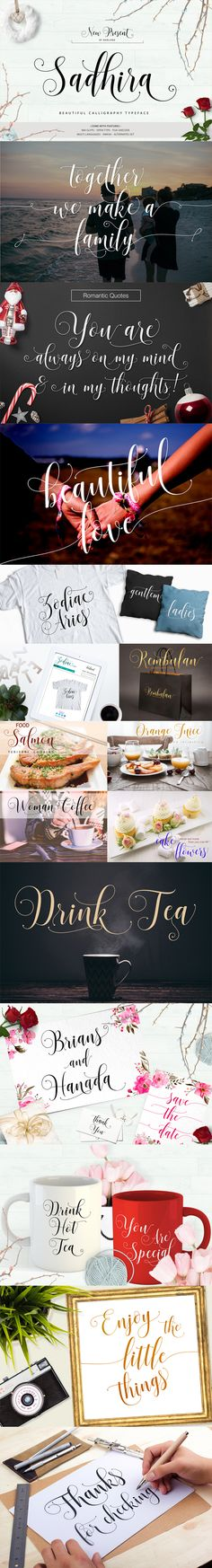 Sadhira Script Calligraphy Typeface — TrueType TTF #love #fancy • Available here → https://graphicriver.net/item/sadhira-script-calligraphy-typeface/17811290?ref=pxcr