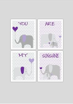 Elephants nursery art set printable, instant download, elephant nursery decor, grey and purple nursery decor, hearts nursery art