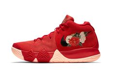 1d13e8b6b8a5d Nike LeBron Zoom Soldier 9 Charcoal Red Basketball Shoes. Nike Kyrie 4  Chinese New Year january release date red floral Kyrie Irving footwear  flowers peach