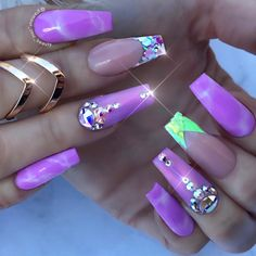 The Most Fashionable and Beautiful Purple Nail Art Designs 2018 Elegant Nail Designs, Elegant Nails, Stylish Nails, Nail Art Designs, Bling Nails, Swag Nails, Hot Nails, Hair And Nails, Tiffany Nails