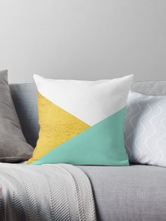 Enjoy 15% OFF With Any 2 Pillows! #cushion #pillows #homedecor #decoration #shop #sales #redbubble #mint #gold #artbyjwp
