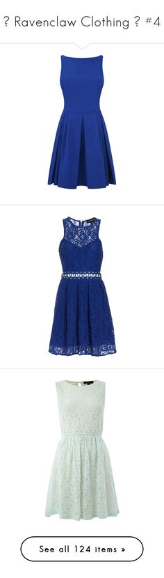 """💙 Ravenclaw Clothing 💙 #4"" by moon-crystal-wolf ❤ liked on Polyvore featuring dresses, vestidos, short dresses, blue dresses, blue, blue polo dress, short blue dress, blue day dress, mini dress and fit and flare dress"