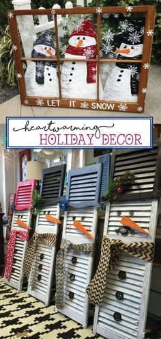 This Rustic Holiday Decor is easy to make, inexpensive, and beautiful! These DIY rustic holiday decor ideas include using wood pallets, reclaimed wood, and will create the perfect farmhouse style holiday decorations! Try making your own DIY rustic decorations for this holiday season! #rustic #decorations #holidays #christmas #farmhouse #diy Diy Snowman Decorations, Office Christmas Decorations, Thanksgiving Decorations, Lollipop Decorations, Thanksgiving Diy, Decoration Crafts, Christmas Centerpieces, Merry Christmas, Rustic Christmas