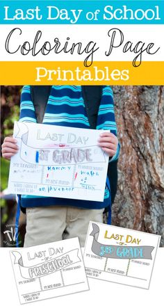 Wanting to save those last day of school memories? These Last Day of School Coloring Printables are the perfect way to look back over a successful year. End Of School Year, School Fun, School Stuff, School Days, School Coloring Pages, Coloring Book Pages, Handmade Teacher Gifts, Preschool Printables, Free Printables