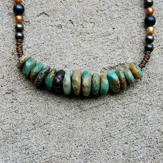 Turquoise disks necklace with pearls