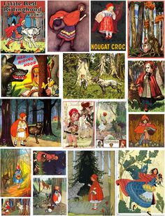 Vintage Little Red Riding Hood illustrations-various sizes--in the woods.
