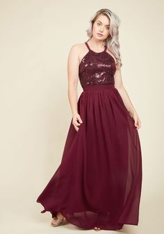 Big-Time Splendor Maxi Dress in Garnet