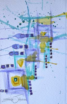 Abstract Original PaintingWater colorRain by ErikaJohnsonGallery, $56.00