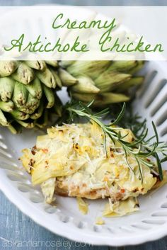 Creamy artichoke chicken -  I probably will substitute greek yogurt for the mayonnaise, to make it healthier.