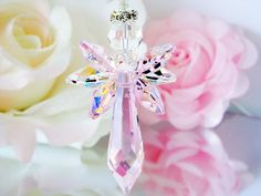 Crystal Guardian Angel Suncatcher for Your Home created with Swarovski Light Pink and Aurora Borealis Crystals.