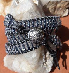 Crystal Black Lined Seed Bead Leather 4X Wrap Bracelet