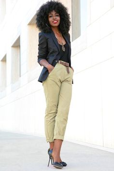 This fitted blazer compliments the slouchy pants for a pulled-together look | Instagram style star Folake Huntoon