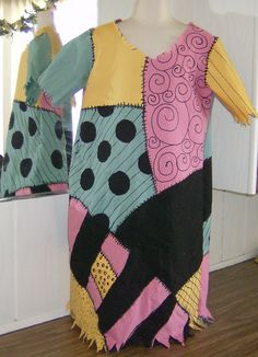 Custom Made Child Toddler Sally Stitches Nightmare Before Christmas  Costume Dress. Pink, Green, Gold, and  Black. $70.00, via Etsy.