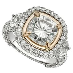 She is definitely going to say yes! Forever Brilliant ® Moissanite Cushion & Trillion Cut Engagement Ring!