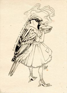 strawberry-bubbles:    'The House Sparrow' by Naomi Franquiz