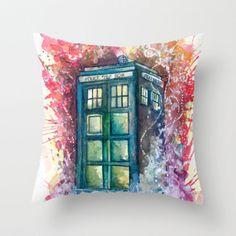 Doctor Who Tardis Throw Pillow by Jessi Adrignola
