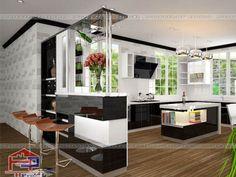 Tủ bếp quầy bar hiện đại gỗ Acrylic đang là sản phẩm được khách hàng yêu thích. Nó mang tới không gian bếp rộng rãi, thoáng mát và an toàn cho sức khỏe